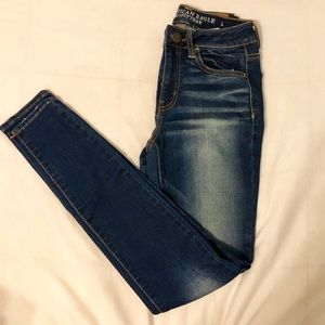 AEO Super Super Stretch High Rise Dark Wash Jeans